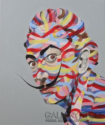 Paweł Dąbrowski-Dali portret-Olej