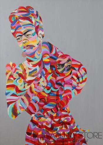 Paweł Dąbrowski-Frida z małpką. -Olej