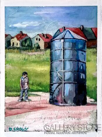 Piotr Smogór-czerwone domy i silos-Akryl