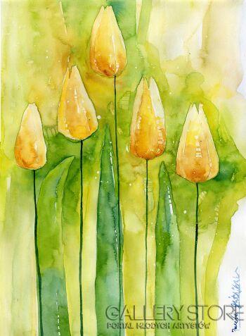 Klaudia Pawelec-Gliklich-Green tulips  -Akwarela