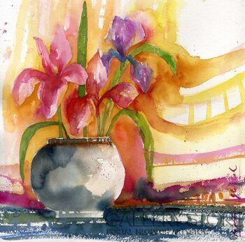 Klaudia Pawelec-Gliklich-Kwiatowy dzban -Akwarela