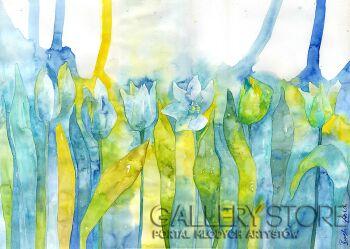 Pracownia Aquarelle Klaudia Pawelec-Gliklich-Złoty błękit -Akwarela
