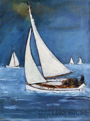 Romuald Mulk Musiolik-Impresja żeglarska-Olej