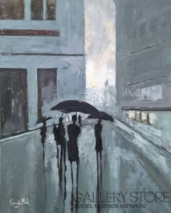 Romuald Mulk Musiolik-Ludzie z parasolami-Olej