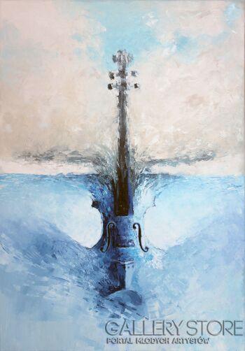 Sewer Niedzwiecki-Niebieskie Skrzypce-Giclee