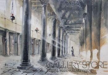 Tomasz Cebula-Bazylika w Betlejem-Akwarela