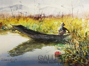 Tomasz Olszewski-Birmański rybak-Akwarela