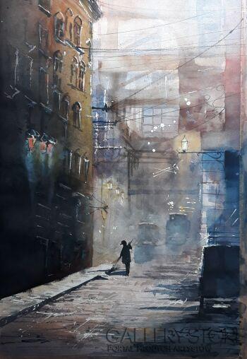 Tomasz Olszewski-Miasta świata - Industrial Old London-Akwarela