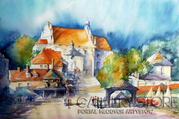 Tomasz Olszewski-Kazimierz Dolny - rynek-Akwarela