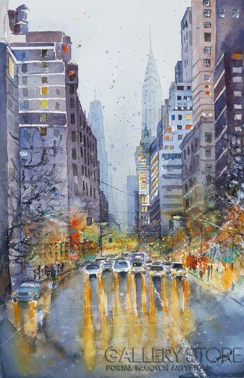 Tomasz Olszewski-Nowy York na deszczowo-Akwarela
