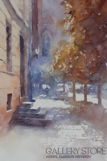 Witold Zieliński-Ulica Katedralna-Akwarela