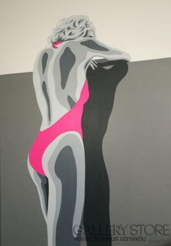 Wojciech Urbańczyk-Różowe bikini-Akryl