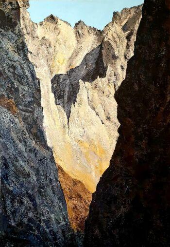 Zuzanna Kabulska-Góry II (Widok wprost ze szczeliny górskiej)-Olej