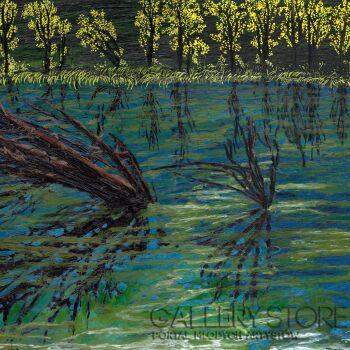 Angelika Mus-Nowak-Czarne odbicia w niebieskiej wodzie-Rysunek
