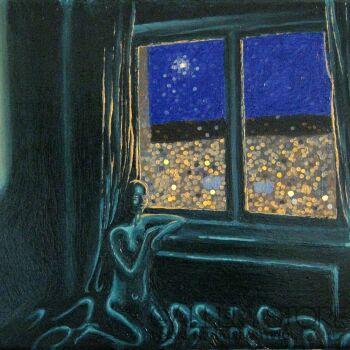 Angelika Mus-Nowak-Kółka za nocnym oknem-Olej