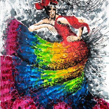 Ania Stępień-Kolorowe flamenco-Akryl