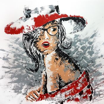 Ania Stępień-Lady in red-Akryl