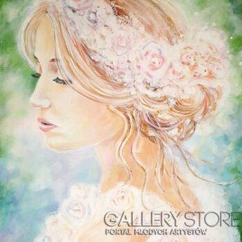 """Anna Pawlak-""""Dziewczyna w różanym wianku""""-Akryl"""