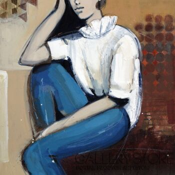 Barbara Zabłocka-w zamyśleniu-Akryl