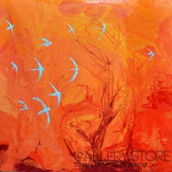 Beata van Wijngaarden-ICE AND FIRE abstract 100x100-Technika mieszana