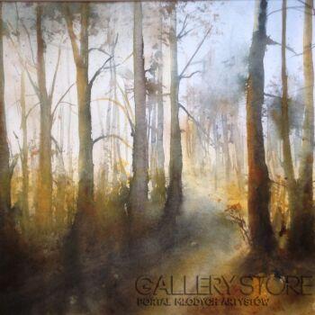 Boźenna Niewinowska-Jesiennie w lesie -Akwarela