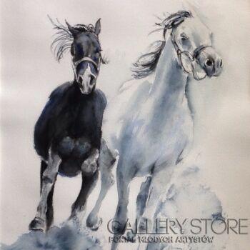 Boźenna Niewinowska-Pędzą konie-Akwarela