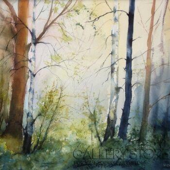 Boźenna Niewinowska-słońce w lesie-Akwarela