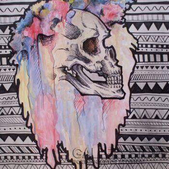Dominika Nowakowska-Hippie Watercolor Skull -Technika mieszana