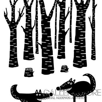 Dominika Wilk-Wilki w lesie -Grafika
