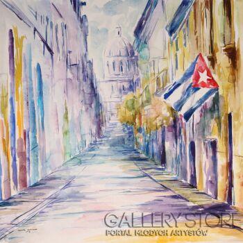 Edward Karczmarski-Kolorowa ulica Hawany-Akwarela