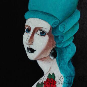 Helga Nagy-Girl with pearl earring-Olej