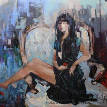 Henadzy Havartsou-Dziewczyna z kotem-Olej