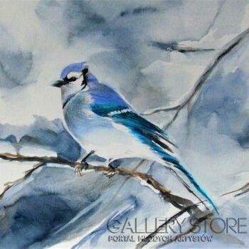 Joanna Sadecka-Modrosójka-niebieski ptak-Akwarela