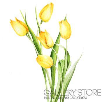 Karolina Kijak-Żółte tulipany, kwiaty w akwareli-Akwarela