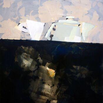 Kasia Gawron-martwa natura z kwiecistym obrusem-Olej