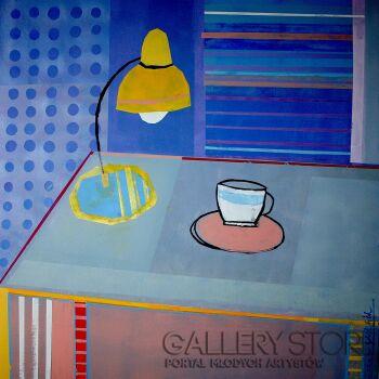 Klaudia Pawelec-Gliklich-Stół z żółtą lampą -Akryl