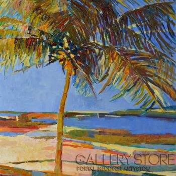 Magdalena Walulik-Pejzaż Samotna plaża-Olej