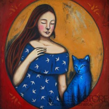 Małgorzata Rukszan-Dziewczyna z niebieskim kotem-Akryl