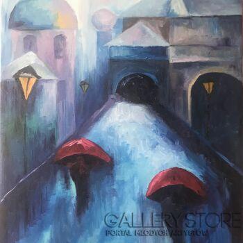 Marta Hyla-Czerwone parasole-Olej