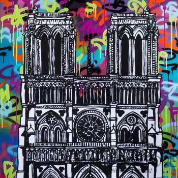 Monika Mrowiec-Impresja o Notre-Dame (808 Street Art Ave.)-Akryl