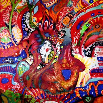 Natalia Pastuszenko-Czerwona kompozycja-Akwarela