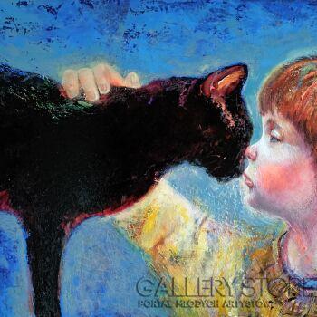 Natalia Pastuszenko-Dziewczynka i kot-Akryl