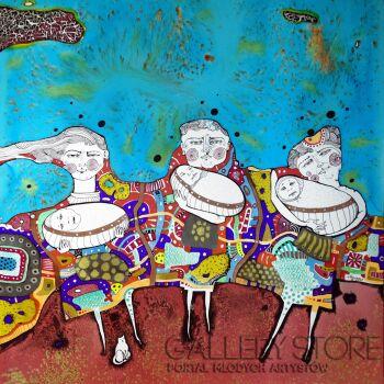 Natalia Pastuszenko-Trzy kobiety-Akwarela