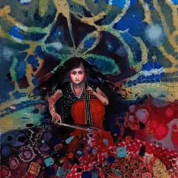 Natalia Pastuszenko-Wiolonczelistka-Akryl
