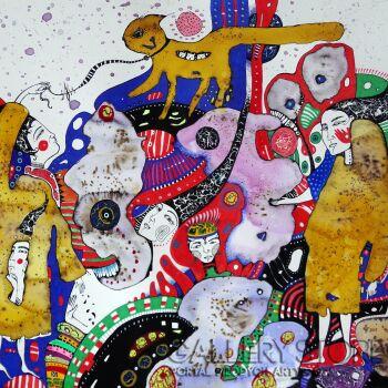 Natalia Pastuszenko-Z żółtym kotem-Akwarela