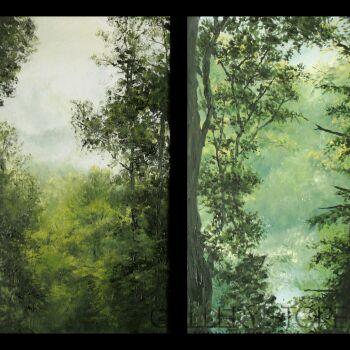 Natalia Ziomek- Wilusz-Leśne widoki z mgłą-Olej