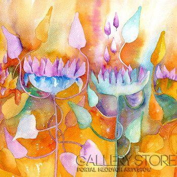Pracownia Aquarelle Klaudia Pawelec-Gliklich-Kwiaty słonecznikowe  -Akwarela
