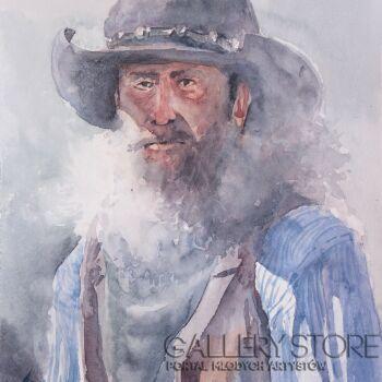 Tomasz Cebula-Mężczyzna w kapeluszu-Akwarela