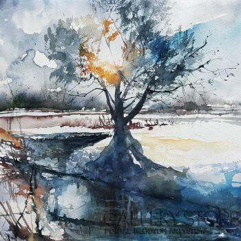 Tomasz Olszewski-Zimowe impresje - Nad zimowym strumieniem-Akwarela