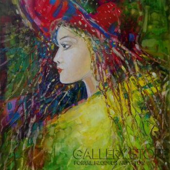 """Urszula  Poposka-""""Kobieta w czerwonym kapeluszu""""-Olej"""
